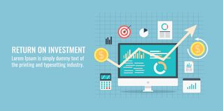 Return on investment - ROI - Business report - investment income - profit margin concept. Flat design vector banner. Concept of return on investment, business Stock Image