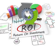 Concept Return on investment. 3D Illustration, Return on investment, finance, banking, analyze data, financial planning, stock market, strategic management Royalty Free Stock Images