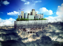 Concept of the revival of society and of changing thinking Apocalyptic concept background of futuristic and destroyed city. 3d ernder stock illustration