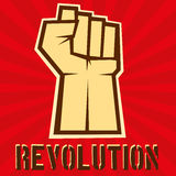 Concept of revolution. Hund up on red background,  Royalty Free Stock Photography