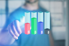 Concept of a RGB Inkjet level interface over a device - Computer Royalty Free Stock Images