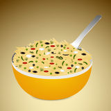 Concept of rice in a bowl with spoon. Stock Photo