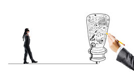 Concept of risk and difficulty with blind businessman steping carefully. Young businessman walking forward to idea on drawn line Royalty Free Stock Photos