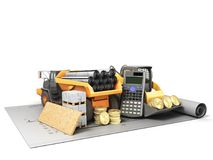 The concept of road repair calculations excavator dump truck blu Royalty Free Stock Photography