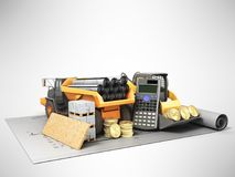 The concept of road repair calculations excavator dump truck blu Stock Photography