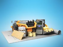 The concept of road repair calculations excavator dump truck blu Royalty Free Stock Photos
