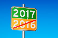 2017 concept on the road signpost, 3D rendering. 2017 concept on the road signpost, 3D stock illustration