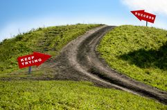 Concept of road to success. With countryside pathway and arrows to keep trying Royalty Free Stock Photos