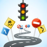Concept of Road with Traffic Lights. Vector vector illustration