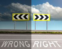 Concept on the road, wrong or right direction Royalty Free Stock Image