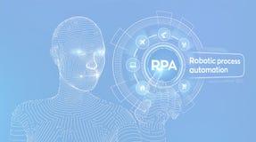Concept robotique de technologie d'innovation d'automatisation des processus de RPA sur l'?cran virtuel Main de cyborg de Wirefra