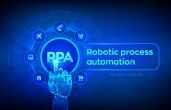 Concept robotique de technologie d'innovation d'automatisation des processus de RPA sur l'?cran virtuel Main robotique touchant l