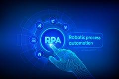 Concept robotique de technologie d'innovation d'automatisation des processus de RPA sur l'?cran virtuel Main robotique de Wirefra