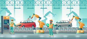 Concept robotisé de vecteur de bande dessinée d'usine de voiture illustration stock