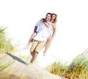 Concept Romance d'île d'amour de plage de couples Images libres de droits