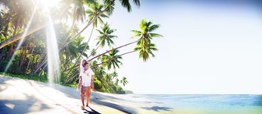 Concept Romance d'île d'amour de plage de couples Photographie stock