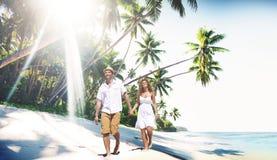 Concept Romance d'île d'amour de plage de couples Image libre de droits