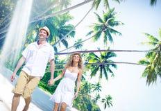 Concept Romance d'île d'amour de plage de couples Photo libre de droits