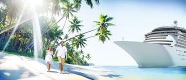 Concept Romance d'île d'amour de plage de couples Photos libres de droits