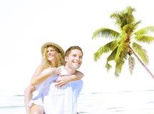 Concept Romance d'île d'amour de plage de couples Images stock