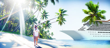 Concept Romance d'île d'amour de plage de couples Photographie stock libre de droits