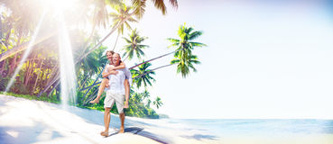Concept Romance d'île d'amour de plage de couples Photo stock