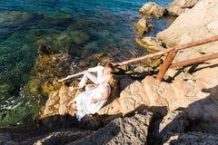 Concept Romance d'unité de plage d'amour de couples Image libre de droits