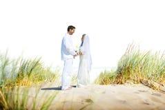 Concept Romance de mariage d'amour de plage de couples Photos stock