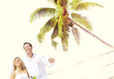 Concept Romance de mariage d'amour de plage de couples Image libre de droits