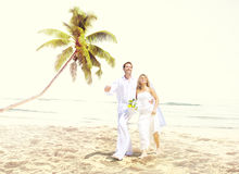 Concept Romance de mariage d'amour de plage de couples Images libres de droits