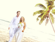 Concept Romance de mariage d'amour de plage de couples Photos libres de droits