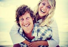 Concept Romance de vacances de fuite de liaison de plage de couples Image libre de droits