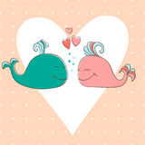 Concept romantic card with cute whales. Stock Photos