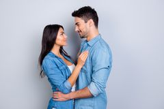 Concept of romantic relationship between man and woman. Mulatto. Concept of romantic relationship between men and woman. Mulatto with bronze skin women and Royalty Free Stock Image
