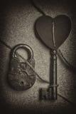 Concept romantique - coeur, clé et serrure Images libres de droits