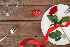 Concept romantique de dîner Fond de Saint Valentin ou de proposition Photo stock