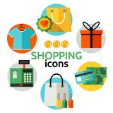 Concept rond d'icônes plates d'achats Photos libres de droits