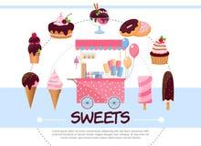 Concept rond de bonbons plats Photo libre de droits