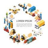 Concept rond de logistique globale isométrique illustration stock