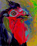 Concept Rooster the symbol of the New Year 2017. Portrait of the hip happy Rooster, picture , oil  painting Royalty Free Stock Photos