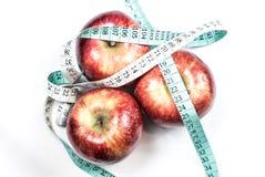 Concept rouge de fitnes de pomme de centimètre Image libre de droits