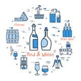Concept rouge et blanc rond bleu Photographie stock