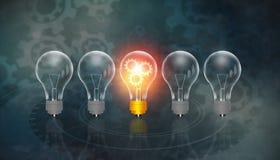 Concept rougeoyant d'unicité d'ampoule illustration libre de droits