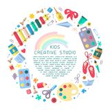 Concept round placard with kids creative studio information. Flat style vector illustration. Suitable for advertisement or placard decor vector illustration
