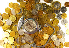 Concept ruble coins with a clock on top Stock Image