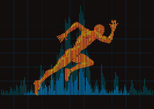 Concept of a running man and digital equalizer. Stock Photo