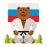 Concept russe d'humeur d'ours de vecteur Illustration comique colorée de bande dessinée de style plat Photo libre de droits