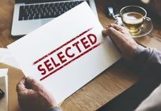 Concept sélectionné de statut de sélection de résultat de décision oui Image stock