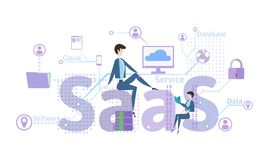 Concept of SaaS, software as a service. Cloud software on computers, mobile devices, codes, app server and database Stock Photo