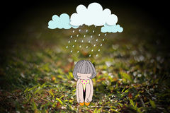 Concept about sadness and depression. Girl under stormy rainy clouds. Concept about sadness and depression Stock Photos